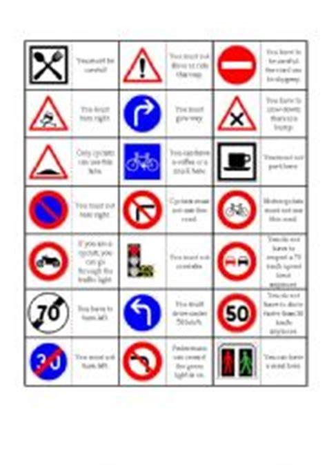 printable uk road signs flash cards english worksheet road sign dominoes