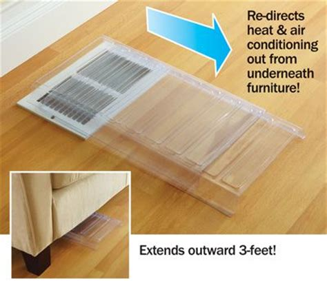 under couch heat register deflector plastic air redirecting vent extenders