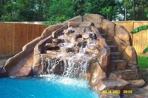 how to build a waterfall into a pool pool waterfall and slide pools pinterest pool