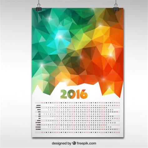 design kalender poster 2016 calendar in polygonal design vector premium download
