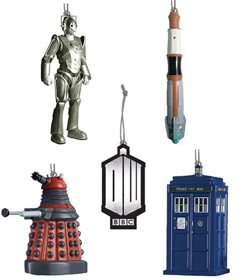doctor who 5 mini christmas tree ornaments merchandise