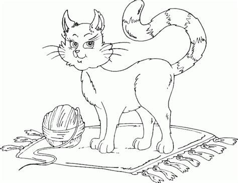 cat  ball  yarn coloring page coloringcom