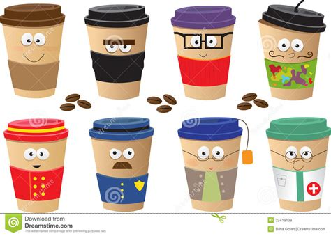 Coffee Cups Characters Royalty Free Stock Photos   Image: 32419138