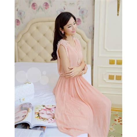 Dress Pink Wanita dress wanita korean style sleeveless chiffon dress size l