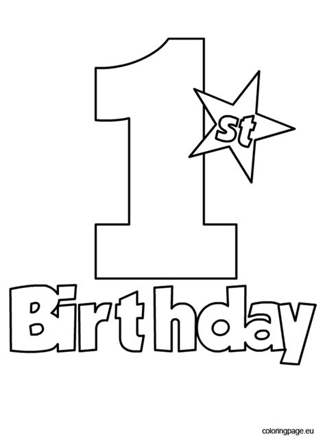 1st birthday coloring page