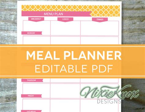 editable menu planner template menu plan weekly meal planning template by perennialplanner