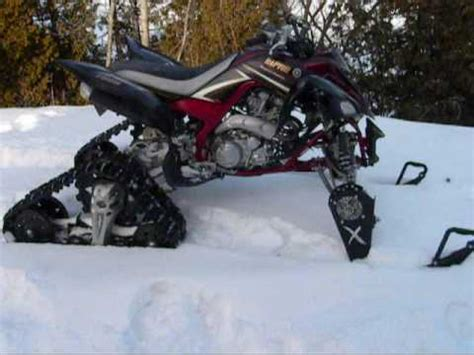 yamaha raptor in snow with track kit youtube