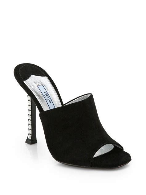 Prada Swarovski 1 prada swarovski heel suede mules in black lyst