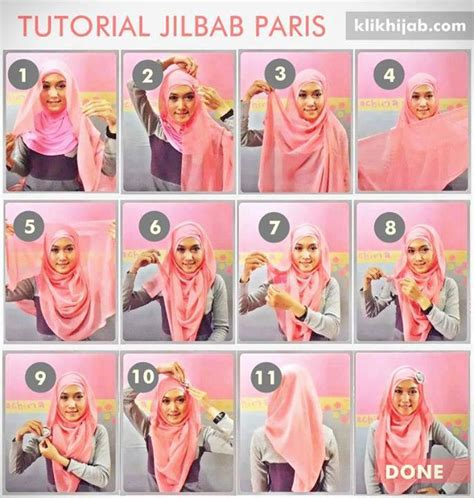 tutorial jilbab paris tanpa jarum step by step