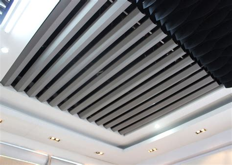Linear Metal Ceiling V Shaped Open Aluminium Linear Metal Ceiling Space Visual