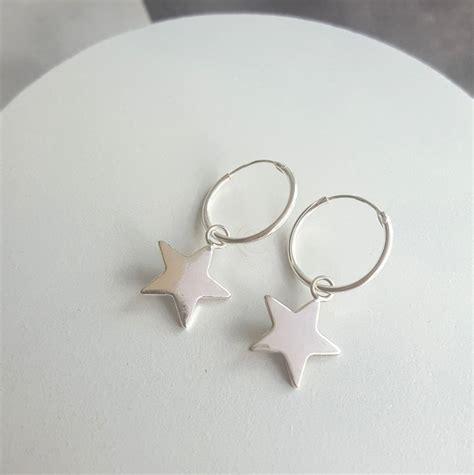 Sterling Silver Hoop Drop Earrings sterling silver hoop earrings by essentia by