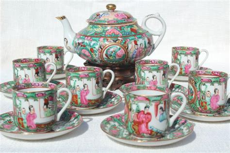 Tea Set Hk Murah painted porcelain tea pot set cups saucers famille medallion vintage hong kong china