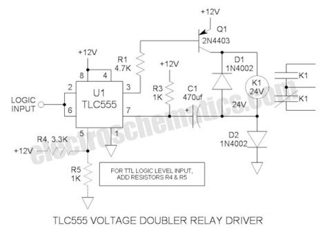 relay economy resistor 555 voltage doubler relay driver