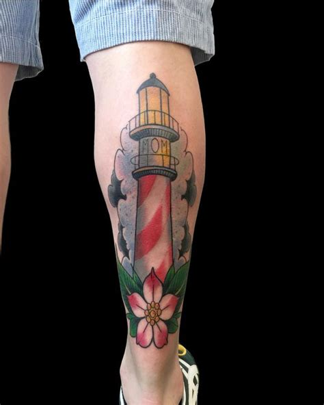 lower leg tattoo traditional lighthouse lower leg by frank ready