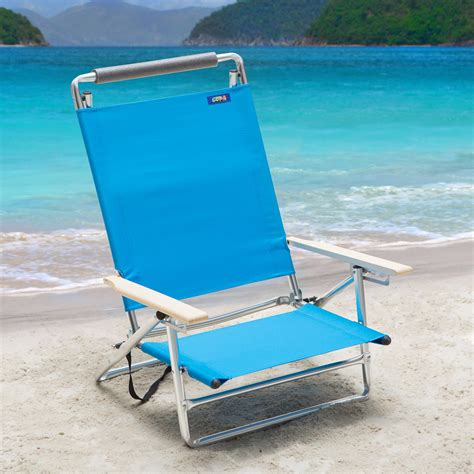 beach recliners copa 5 position lay flat aluminum beach chair azure