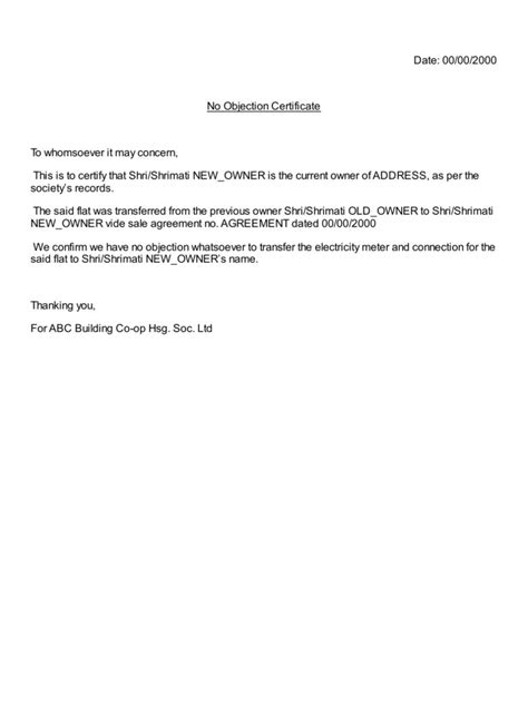 Noc Letter Format For Finance Company Housing Society Electricity Meter Connection Transfer Noc No Objection Certificate