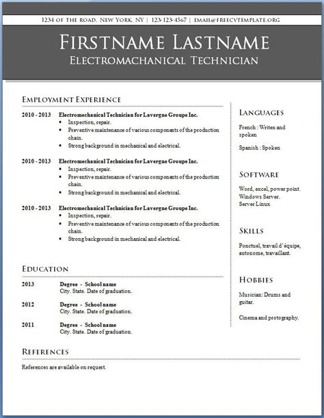 Resume Templates For It Professionals Free by Professional Resume Template