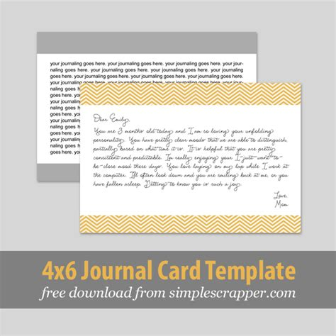 journaling card template two more ways to scrapbook baby simple scrapper