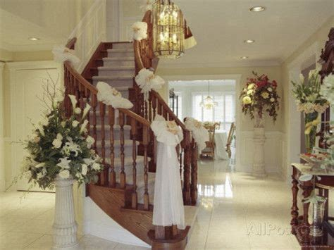 staircase decorated   wedding photographic print