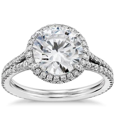 blue nile studio cambridge halo diamond engagement ring