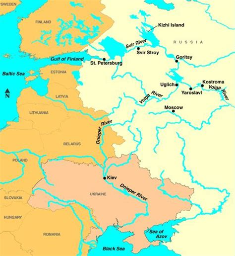 Yahoo Search Europe European River Map Dnieper And Volga Rivers In Russia And Ukraine Places Europe