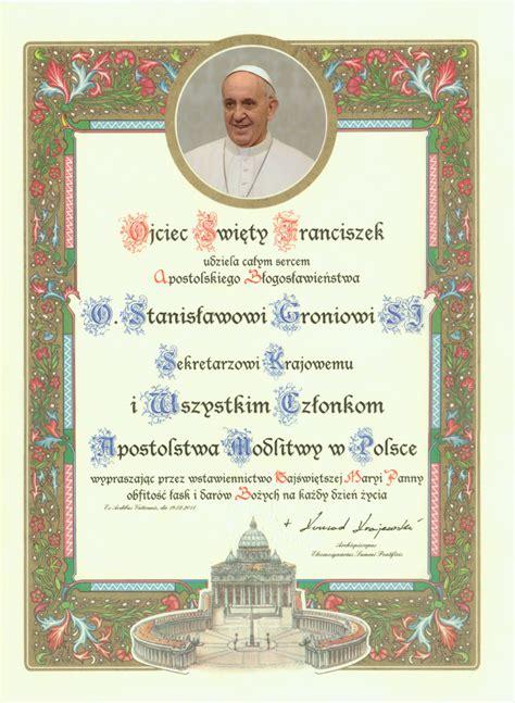 intencje papieskie na 2014 rok dla apostolstwa modlitwy błogosławieństwo papieskie dla apostolstwa modlitwy