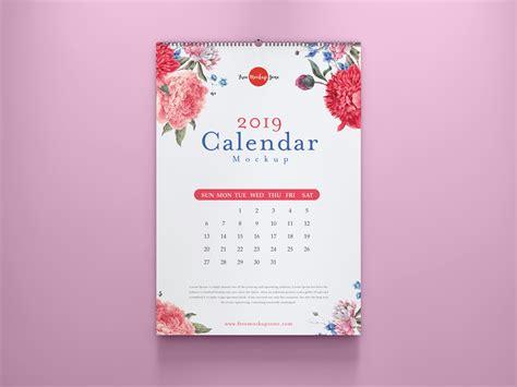 calendar mockup psd  colored wall  mockup zonefree mockup zone