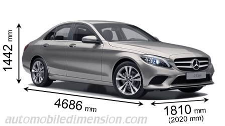 dimensions of mercedes benz cars showing length, width and