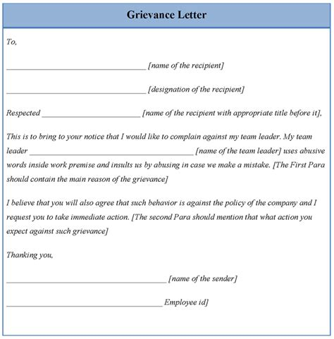 letter template for grievance exle of grievance letter