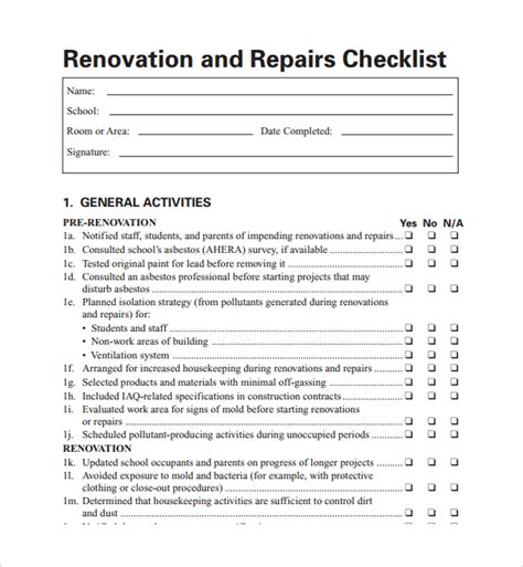 sle renovation checklist template 9 free documents