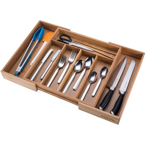 Expandable Cutlery Trays For Kitchen Drawers by Andrew Extending Expandable Bamboo Wood Cutlery