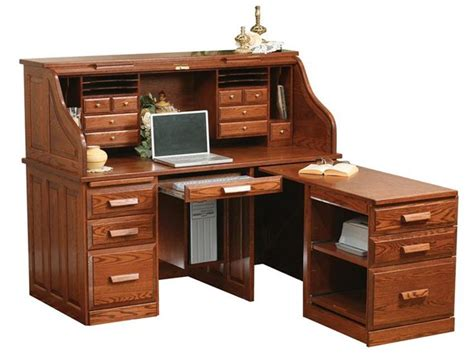 Computer Desk With Return Amish Computer Roll Top Desk With Pull Out Return