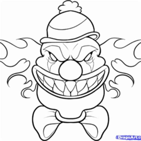 freeaky clown mask pages coloring pages