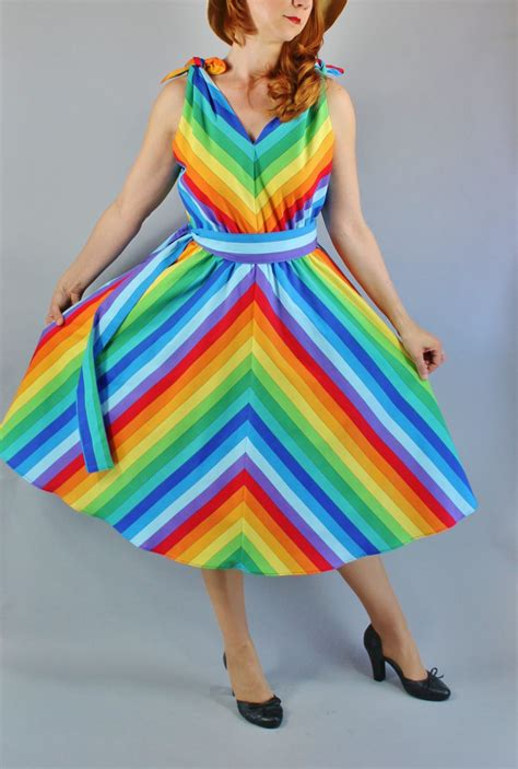 Dress Rainbow 1 womens rainbow dress dress pride dress vlv viva las