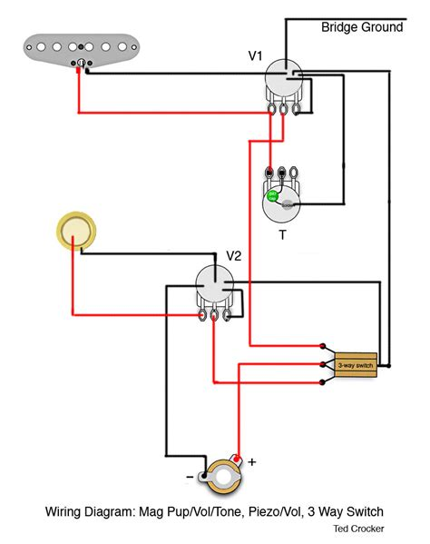single coil wiring diagram 1 single coil with 1 vol and 1 tone 1 piezo with 1 vol