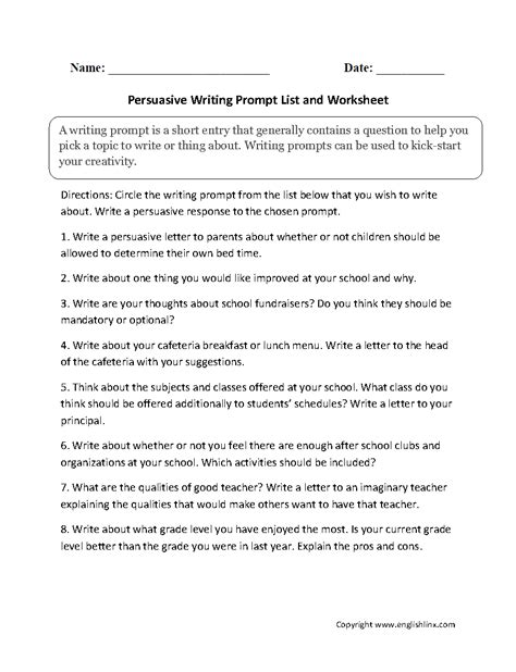 Writing Prompts For Persuasive Essays by Persuasive Essay Prompts 6th Grade Docoments Ojazlink