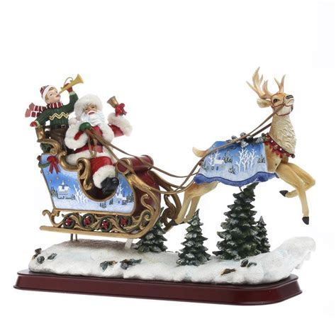 Vintage Inspired Santa and Reindeer Figurine   Table Decor
