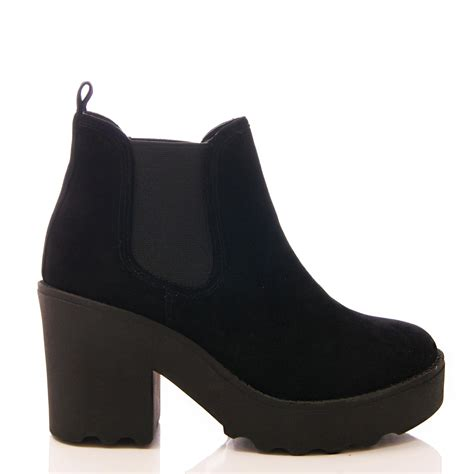 Platform Block Heel Ankle Boots womens chelsea boots platform chunky ankle boots