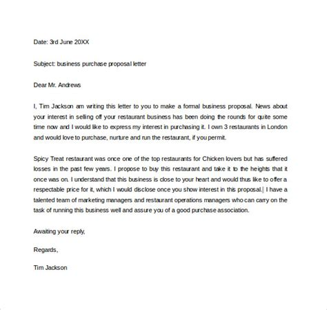 Business Offer Letter Sle Purchasing A Business Business Letter 22 Exles In Pdf Word