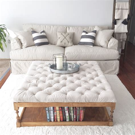 white tufted storage ottoman oversized ottoman with storage square cocktail ottoman