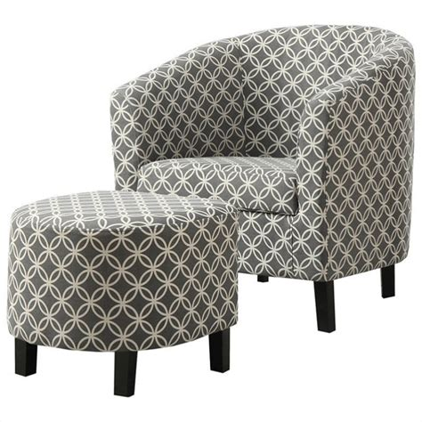 Grey And White Accent Chair Curved Back Accent Barrel Chair And Ottoman In Gray And White I 8060