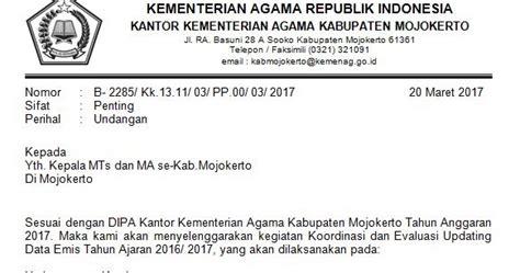 pendma kab mojokerto undangan untuk operator emis mts