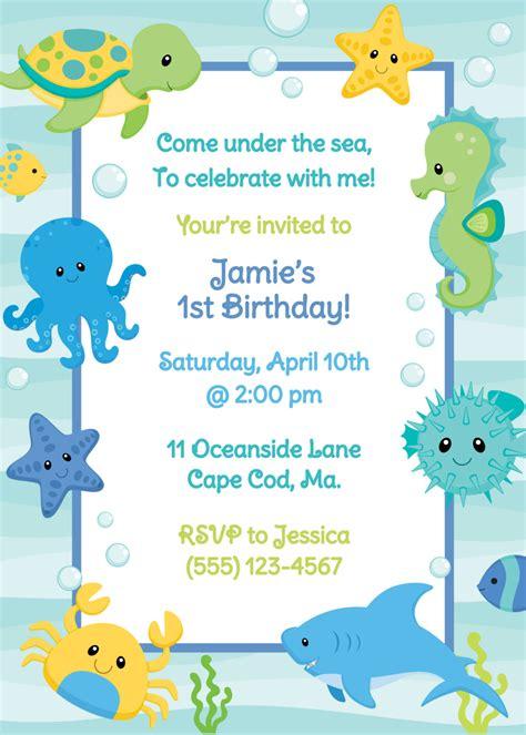 free printable birthday invitations under the sea under the sea birthday invitation boy by anchorbluedesign