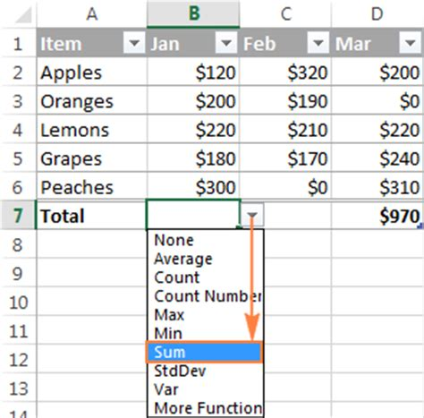 excel sum formula to total a column rows or only visible
