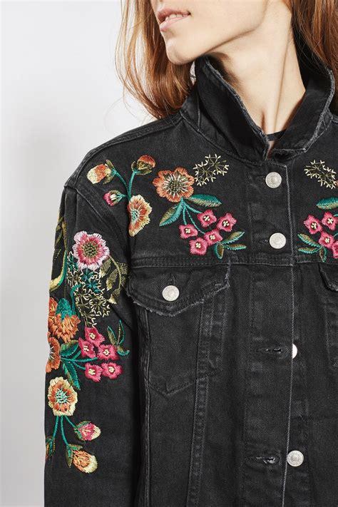embroidery jacket moto floral embroidered denim jacket topshop usa