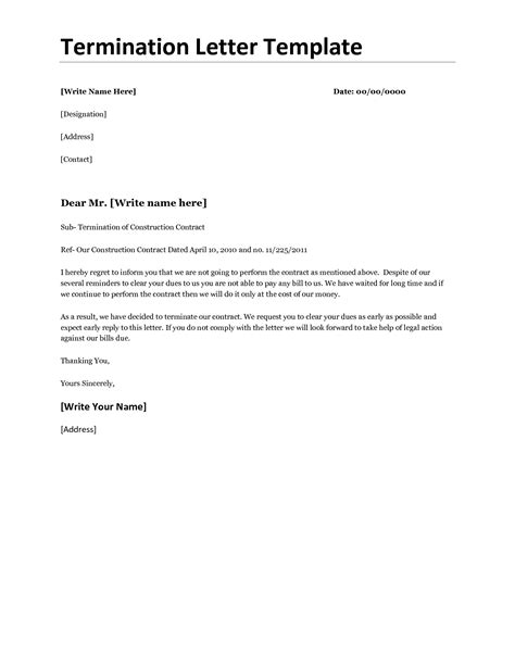 Cancellation Letter Of Agreement business termination letter template or sles for your inspiration vatansun