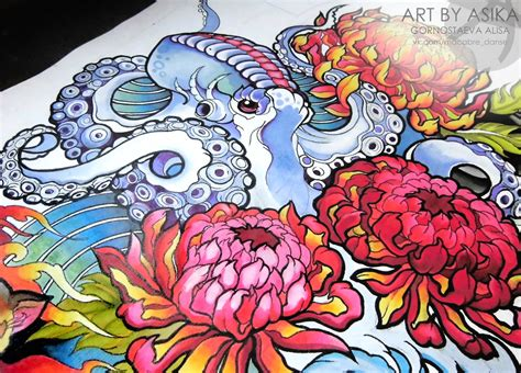 octopus neotradition tattoo sketch tattoo flash by