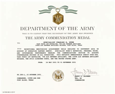army achievement medal certificate template education awards