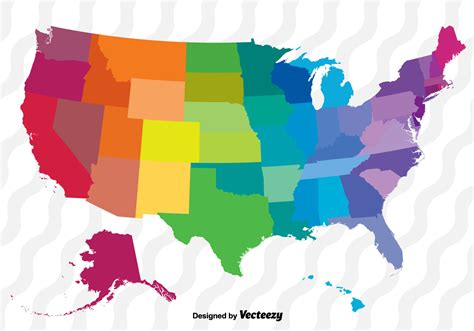 map usa vector colorful vector map of the united states free