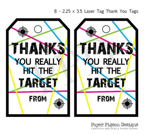 Laser Printable Gift Tags | laser tag party instant download tags laser tag